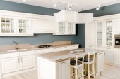 interior of modern light kitchen with white wooden furniture