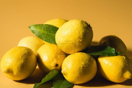fresh wet lemons with leaves on yellow background
