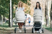 sourire des mères marchant avec poussettes dans le parc et regarder la caméra