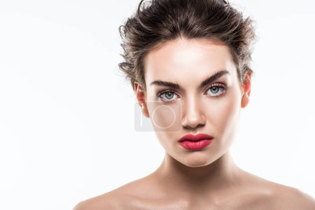 portrait of attractive stylish woman with pink lips, isolated on white