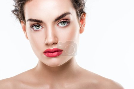 portrait of beautiful fashionable woman with pink lips, isolated on white