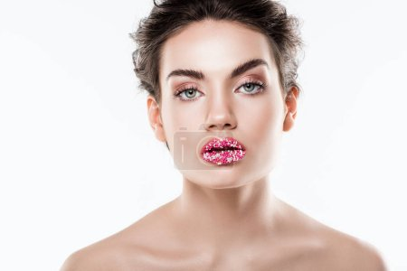attractive woman with sugar sprinkles on lips,  isolated on white
