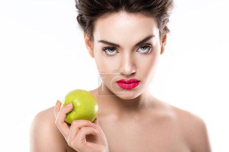 beautiful elegant woman holding green fresh apple, isolated on white