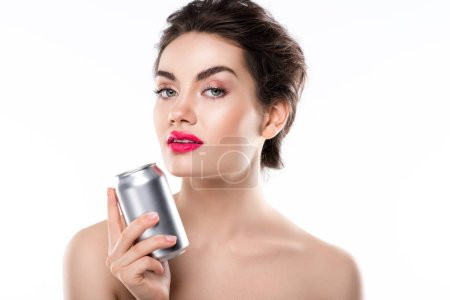 beautiful elegant girl holding soda can, isolated on white