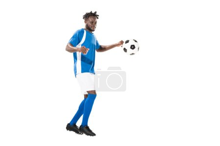 Photo for Full length view of athletic african american sportsman playing with soccer ball isolated on white - Royalty Free Image