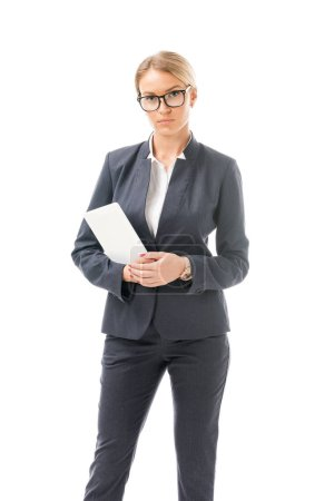 happy young businesswoman with tablet looking at camera isolated on white