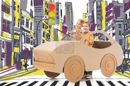 brother and sister playing with cardboard car and traffic lights on street in drawn city