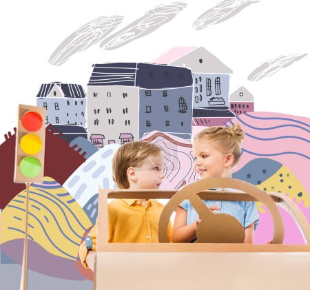 adorable children driving cardboard car with traffic lights in drawn city