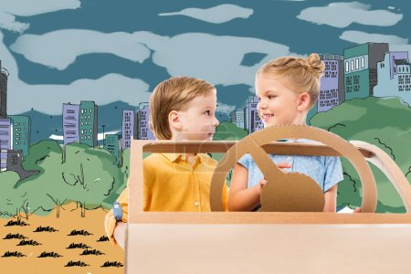 adorable children driving cardboard car in drawn city and park on background