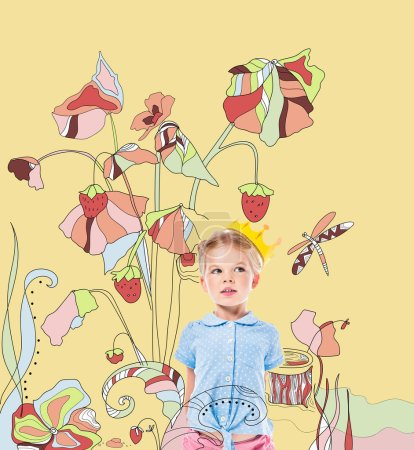 adorable pensive kid in paper crown, isolated on yellow with drawn strawberry plant