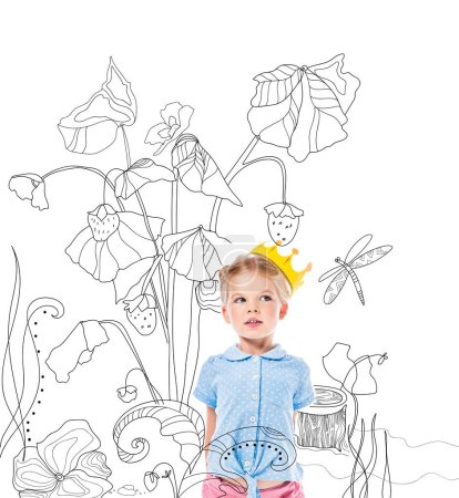 adorable kid in yellow crown, isolated on white with drawn strawberry plant