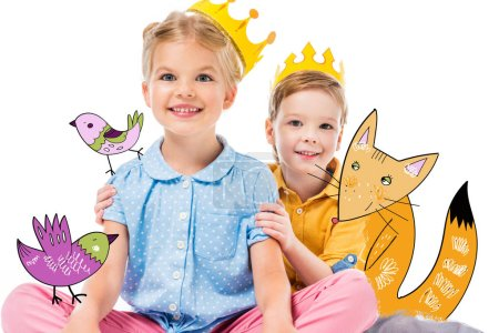 Photo for Adorable children in yellow paper crowns, isolated on white with drawn imaginary fox and birds - Royalty Free Image