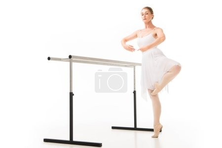 focused ballerina in tutu and pointe shoes practicing at ballet barre stand isolated on white background