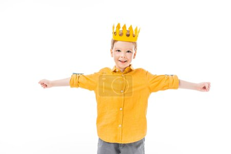 Photo for Holiday boy in yellow crown with outstretched hands isolated on white - Royalty Free Image