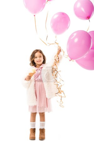 stylish happy child with pink air balloons and ice cream isolated on white