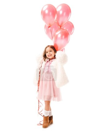 Photo for Happy little child in stylish clothes with pink air balloons isolated on white - Royalty Free Image