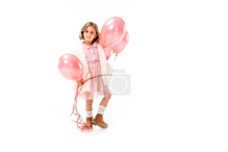 stylish adorable child with pink air balloons isolated on white