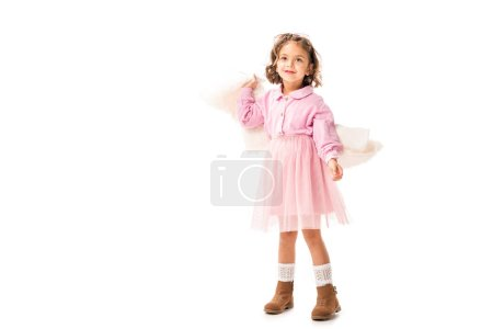 Photo for Beautiful little child in pink clothes having fun isolated on white - Royalty Free Image