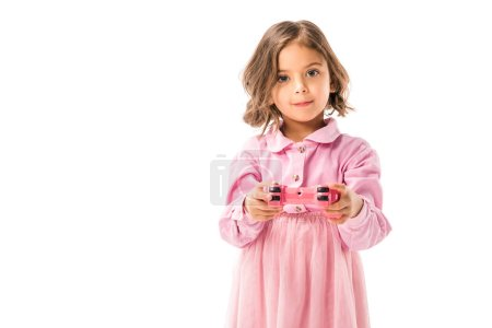 cute kid in pink dress playing video game with gamepad isolated on white