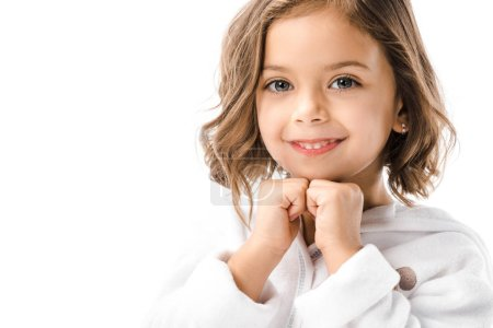 Photo for Portrait of adorable child in white bathrobe isolated on white - Royalty Free Image