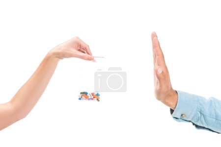 cropped image of man rejecting unhealthy mdma drugs isolated on white