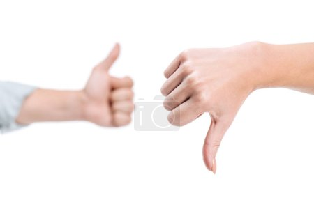 cropped image of woman and man showing thumb up and thumb down isolated on white