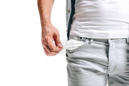 Photo pour Image recadrée de l'homme montrant poche vide isolé sur blanc - image libre de droit