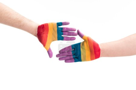 Photo for Cropped image of gay couple touching with hands painted in colors of pride flag isolated on white, world aids day concept - Royalty Free Image