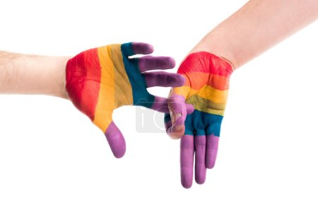 Photo for Cropped image of gay couple showing penetration sign with hands painted in colors of pride flag isolated on white, world aids day concept - Royalty Free Image