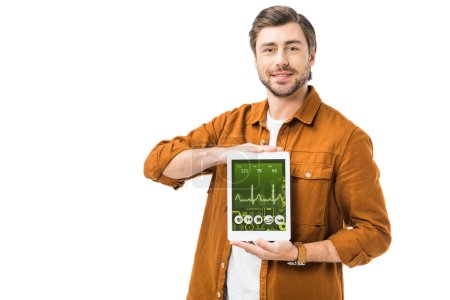 cheerful man showing digital tablet with medical application isolated on white