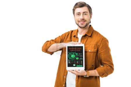 cheerful man showing digital tablet with marketing analysis on screen isolated on white