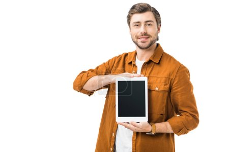 Photo for Smiling man showing digital tablet with blank screen isolated on white - Royalty Free Image
