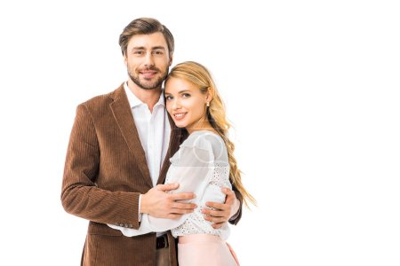 Photo for Smiling stylish man in jacket embracing girlfriend isolated on white - Royalty Free Image