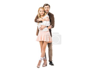 Photo for Handsome man in jacket embracing beautiful girlfriend isolated on white - Royalty Free Image