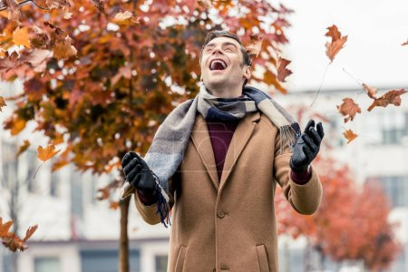 handsome laughing man in coat and scarf throwing up fallen leaves on street