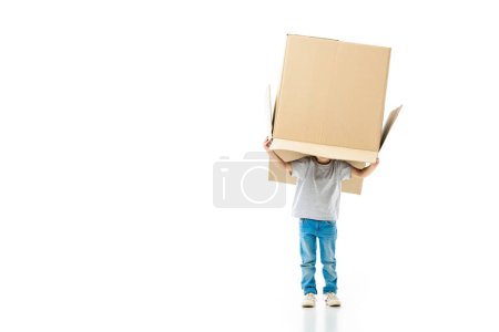 Photo for Little boy hiding in the paper box isolated on white - Royalty Free Image