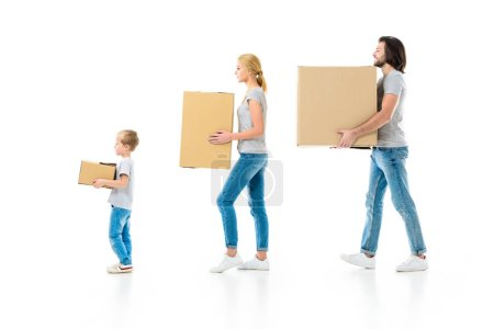 stylish parents and their son holding boxes isolated on white