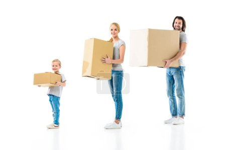 Photo for Happy family holding boxes of different size isolated on white - Royalty Free Image