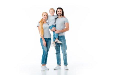 Lovely family hugging little son isolated on white