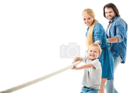 happy family pulling the rope and playing tug of war isolated on white