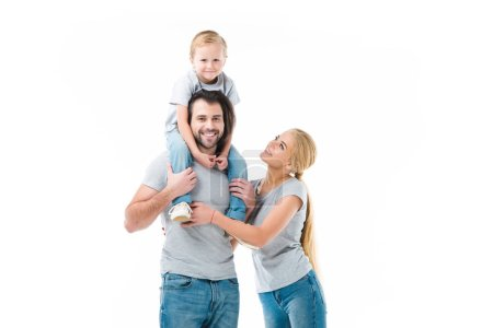 Lovely family, father carring his son on the shoulders isolated on white