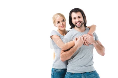 Awesome adult couple hugging and smiling isolated on white