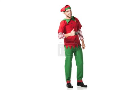 man in christmas elf costume doing thumbs up sign isolated on white