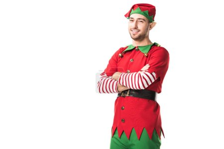 man in christmas elf costume with arms crossed looking at camera isolated on white