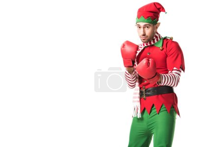 focused man in christmas elf costume wearing red boxing gloves and ready for fight isolated on white