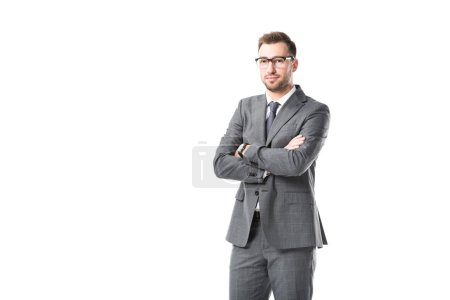 adult businessman in glasses with arms crossed isolated on white