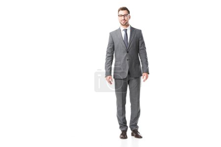 handsome adult businessman in suit and glasses isolated on white