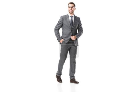 Photo for Handsome adult businessman in suit and glasses isolated on white - Royalty Free Image