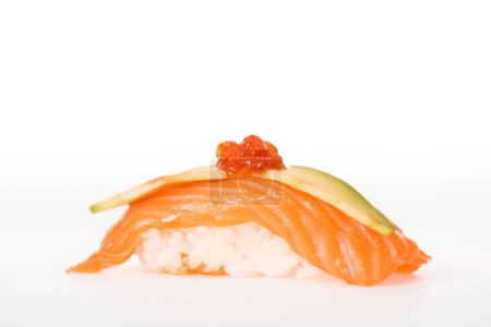 Nigiri sushi with salmon, caviar and avocado isolated on white