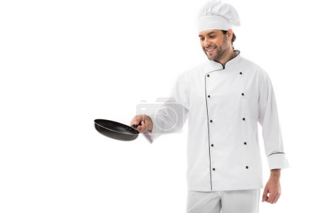 Photo for Happy young chef cooking with frying pan isolated on white - Royalty Free Image